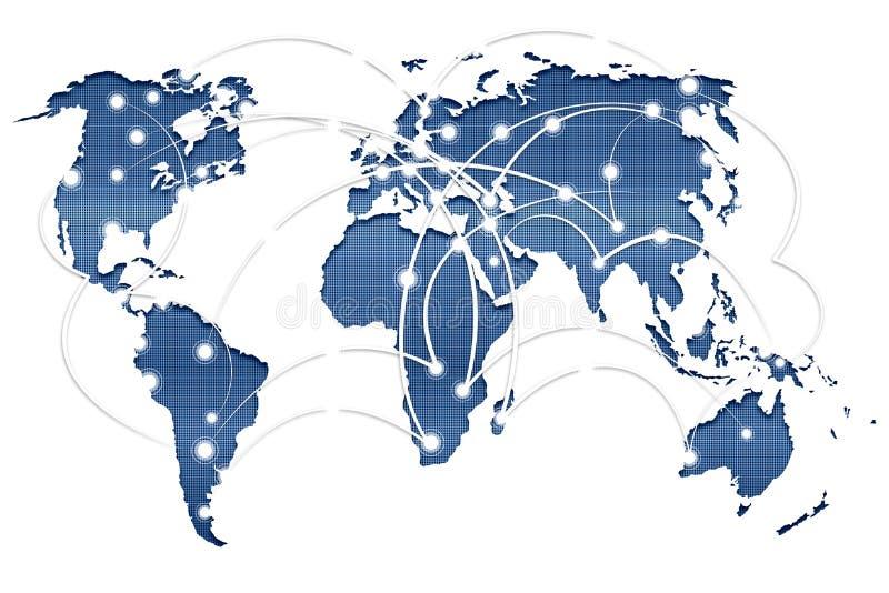 O conceito social das redes com mapa do mundo ilustração royalty free