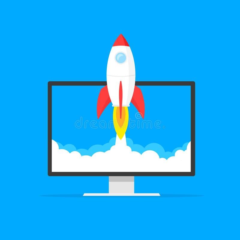 O conceito Startup do negócio, o foguete ou o lançamento do rocketship, ideia do projeto bem sucedido do negócio começam acima, e ilustração royalty free
