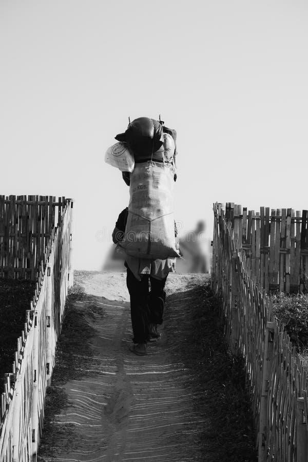 O conceito trabalhador do homem Fontes levando de um porteiro que andam acima ao monte fotografia de stock