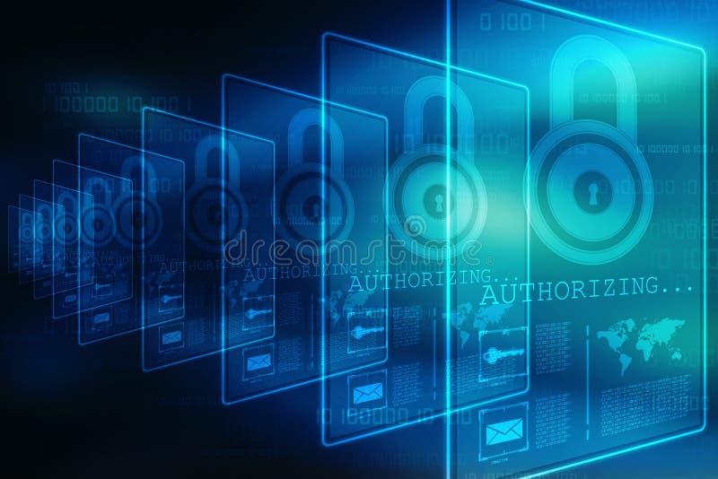 2.o concepto de la seguridad del ejemplo: Candado cerrado en el fondo digital, fondo de la seguridad de Internet libre illustration