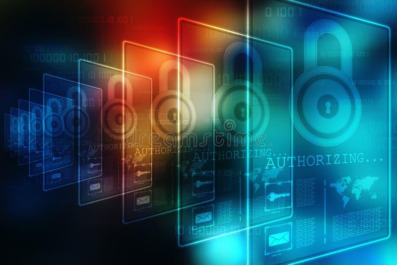 2.o concepto de la seguridad del ejemplo: Candado cerrado en el fondo digital, fondo de la seguridad de Internet ilustración del vector