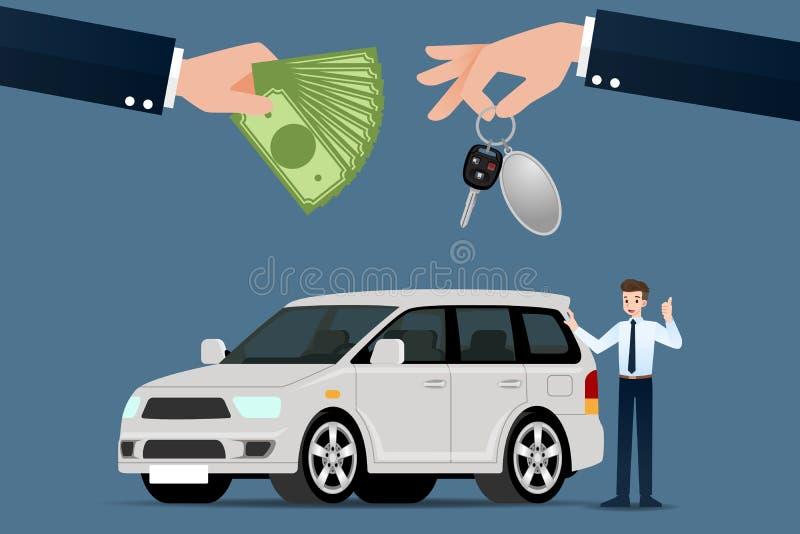 O concession?rio autom?vel faz uma troca, venda, aluguel entre um carro e o cart?o de cr?dito do cliente ilustração do vetor
