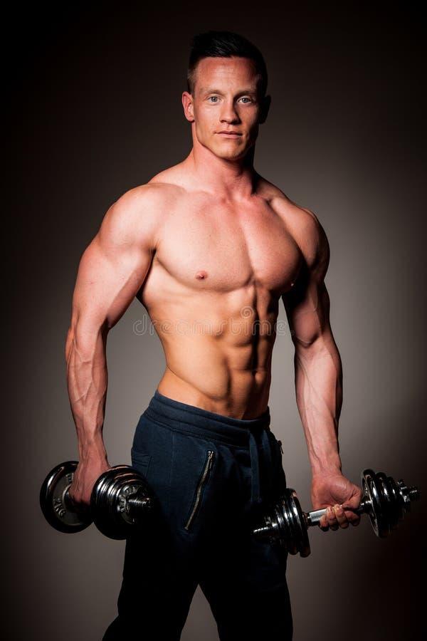 O concorrente da aptidão de Phisique levanta no estúdio após o exercício no gym fotos de stock