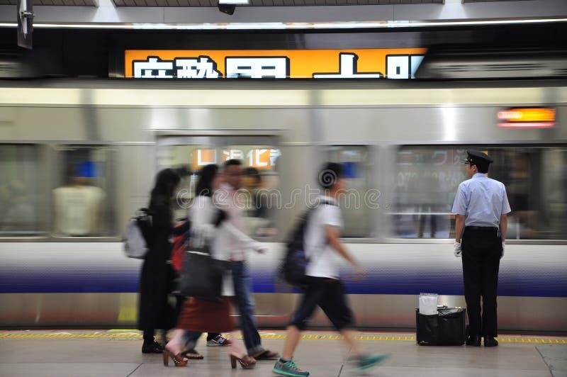 O condutor de trem japonês fotografia de stock