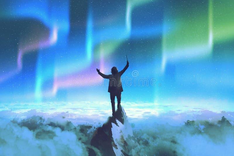 O condutor que está sobre uma montanha contra o céu noturno com aurora boreal ilustração stock