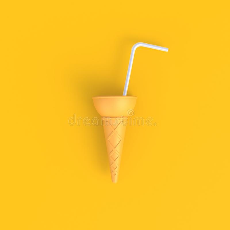 O cone de gelado com palhas bebendo brancas abstrai o fundo amarelo mínimo, conceito do alimento foto de stock royalty free