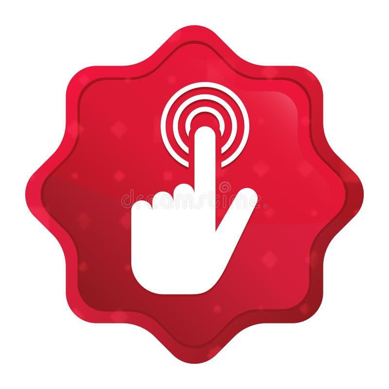 O ?cone do clique do cursor da m?o enevoado aumentou bot?o vermelho da etiqueta do starburst ilustração do vetor