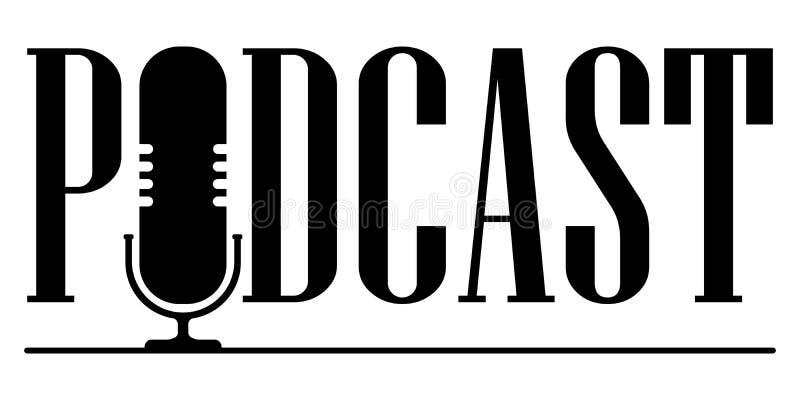 O ?cone do microfone em um estilo liso elegante ? isolado contra o fundo Logotipo, aplica??o, interface de usu?rio Podcast ilustração royalty free