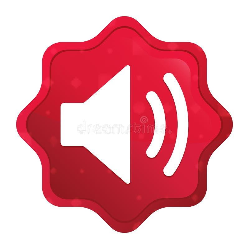 O ?cone do orador do volume enevoado aumentou bot?o vermelho da etiqueta do starburst ilustração stock