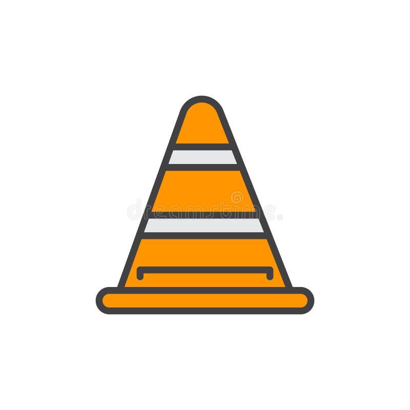 O cone do tráfego rodoviário encheu o ícone do esboço, linha sinal do vetor, pictograma colorido liso Sob o símbolo da construção ilustração royalty free