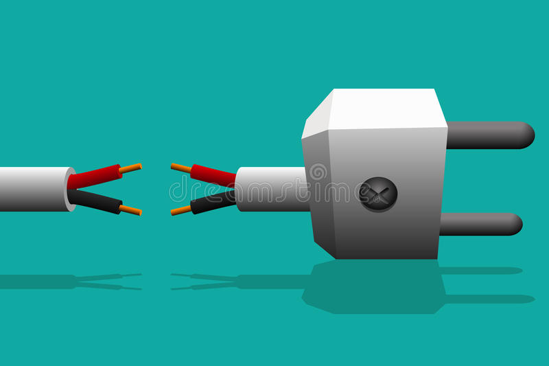 O conector bonde com a fiação elétrica não é conectado nem não se quebra ilustração do vetor