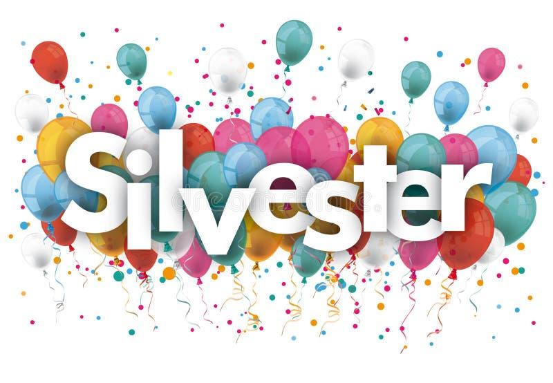O confete Balloons Silvester ilustração do vetor