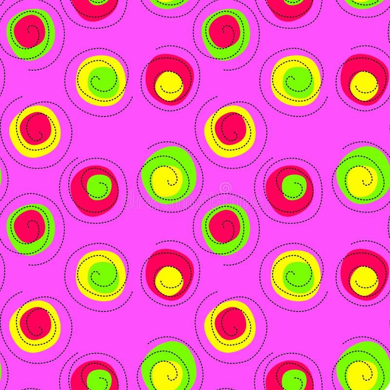 O confete vibrante sem emenda roda teste padrão cor-de-rosa ilustração do vetor