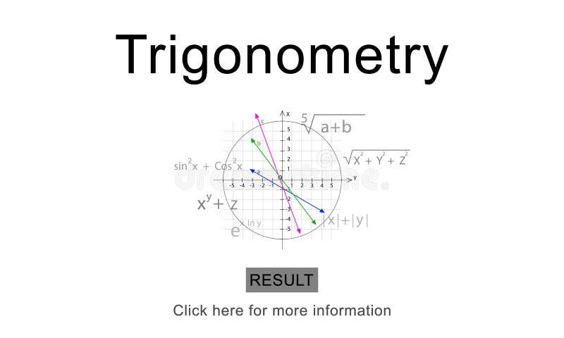 O conhecimento da equação da álgebra do trigonometria aprende o conceito ilustração royalty free