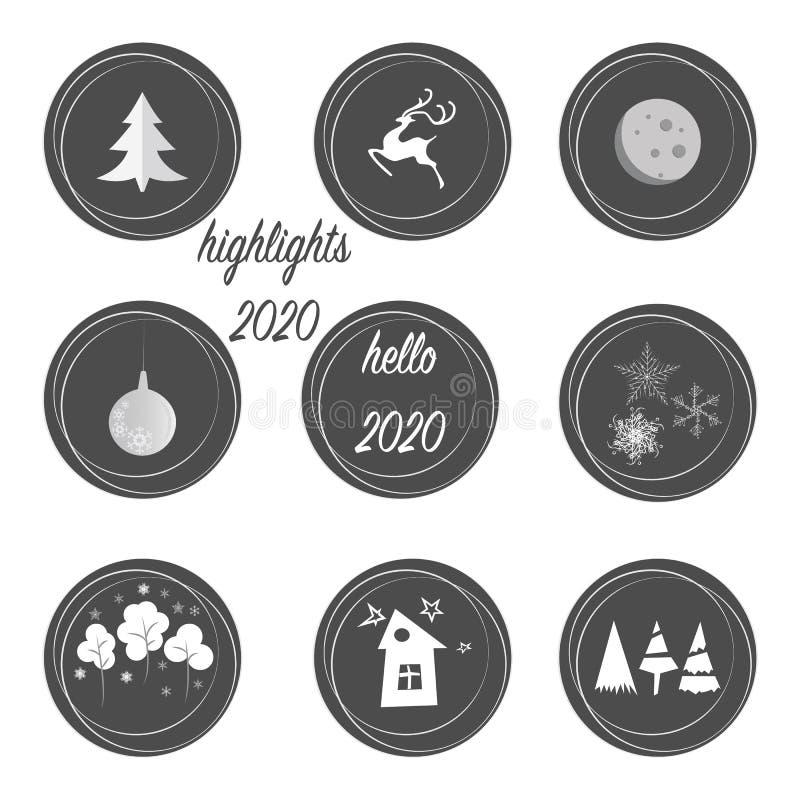 O conjunto de destaques cobre ícones em cores cinza e branca Perfeito para blogueiros Arquivo vetorial totalmente editável e esca ilustração do vetor