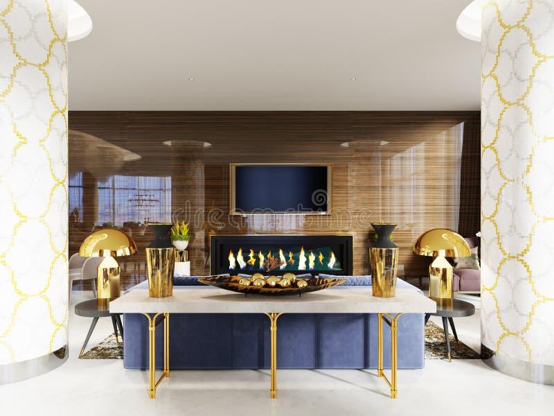 O console na entrada do hotel, a combinação de branco e de ouro é o estilo clássico luxuoso, decorações no tampo da mesa branco c ilustração stock