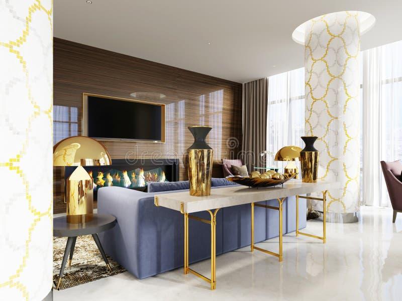 O console na entrada do hotel, a combinação de branco e de ouro é o estilo clássico luxuoso, decorações no tampo da mesa branco c ilustração do vetor