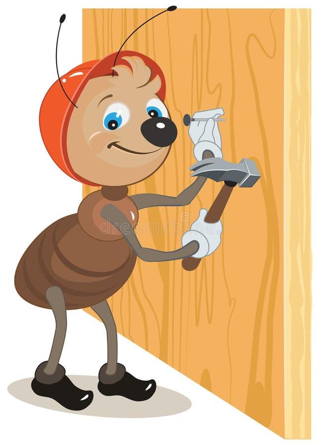 O construtor da formiga martela um prego martelado em uma placa de madeira ilustração do vetor