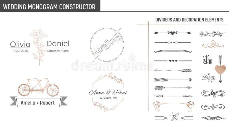 O construtor do monograma do casamento, coleção moderna de Minimalistic dos moldes para cartões do convite, salvar a data, logoti ilustração do vetor