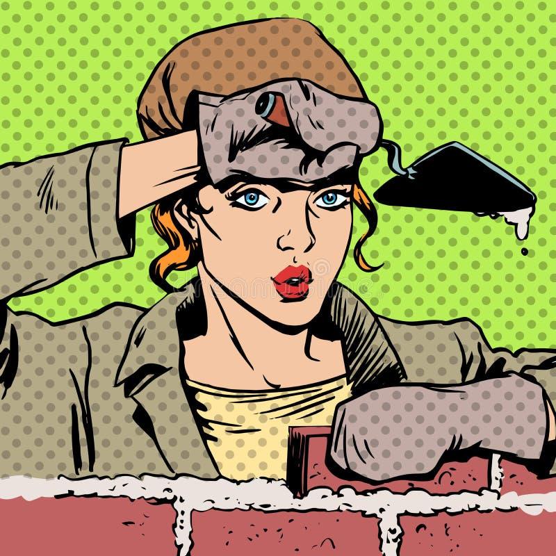O construtor do trabalhador de mulher coloca tijolos ilustração stock