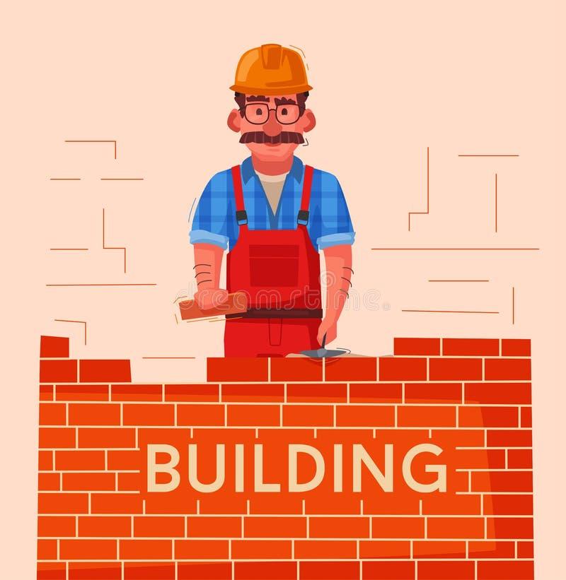 O construtor em um capacete de segurança está construindo uma parede de tijolo ilustração stock