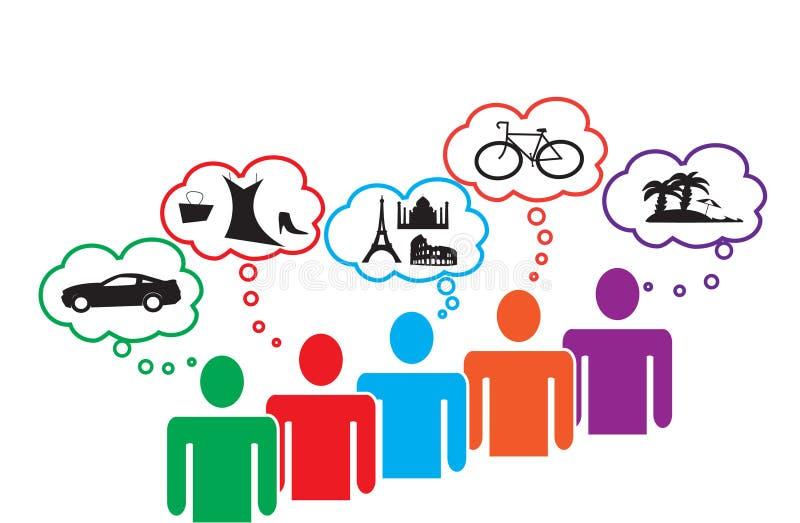O consumidor precisa e quer ilustração royalty free