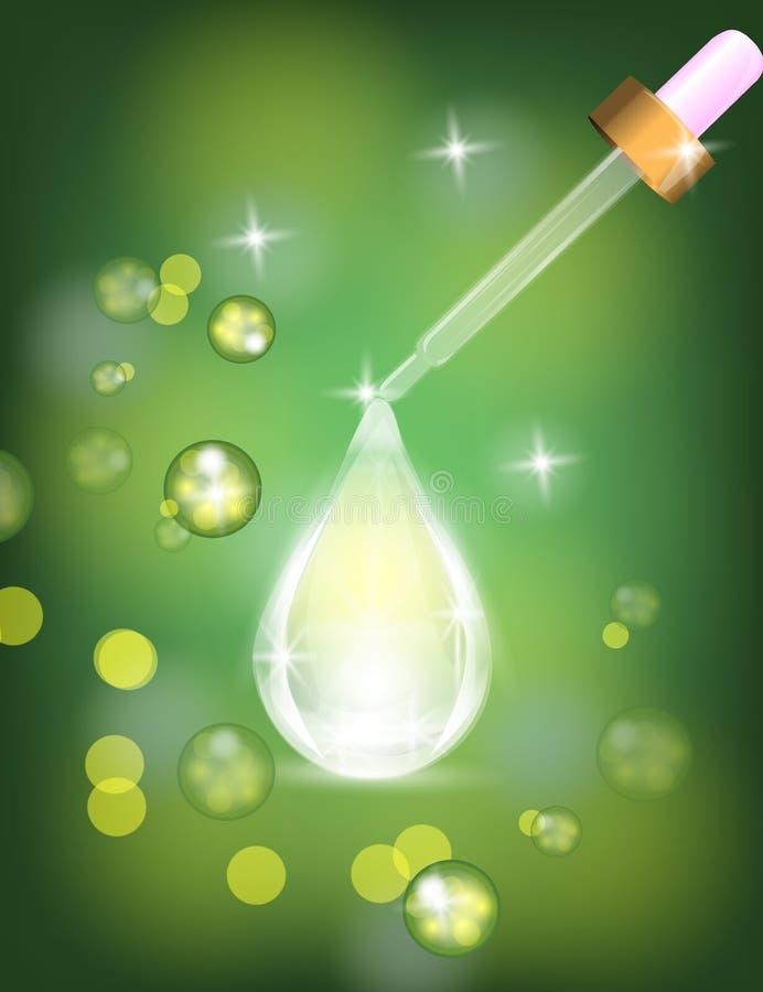 O conta-gotas com gota do soro do colagênio na efervescência, brilha o fundo verde ilustração do vetor