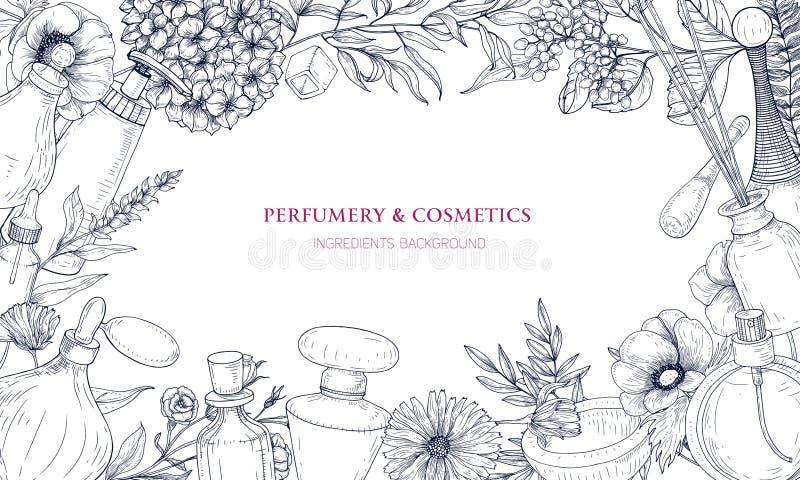 O contexto horizontal com o quadro feito de ingredientes do perfume e da fragrância em umas garrafas e em flores de florescência  ilustração stock