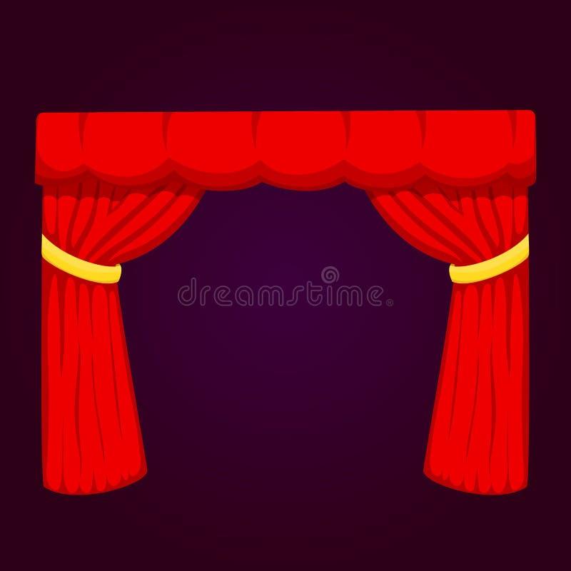 O contexto interior da entrada de pano do desempenho da textura da tela da fase da cortina das cortinas da cena do teatro isolou  ilustração royalty free