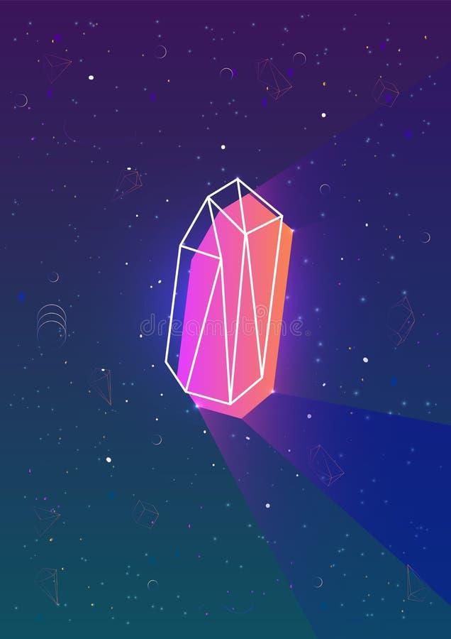 O contexto vertical abstrato com néon de incandescência coloriu a forma geométrica poligonal e o seu esboço contra o céu noturno  ilustração royalty free