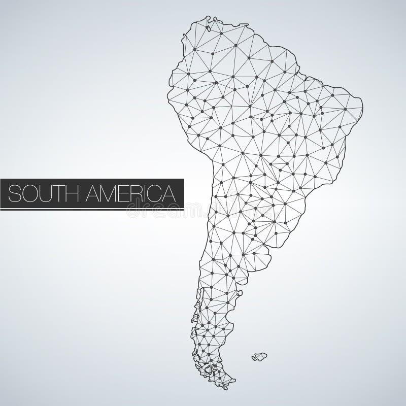 O continente geométrico de Ámérica do Sul, versão clara, limpa o projeto, fácil personalizar o molde ilustração stock