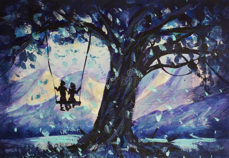 O conto de fadas macro da pintura, o homem da abstração e a menina montam no balanço Montanhas no fundo ilustração ao livro imagens de stock royalty free