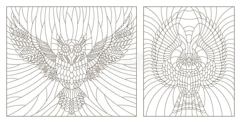 O contorno ajustou-se com ilustração de uma coruja do voo, esboços escuros em um fundo claro ilustração do vetor