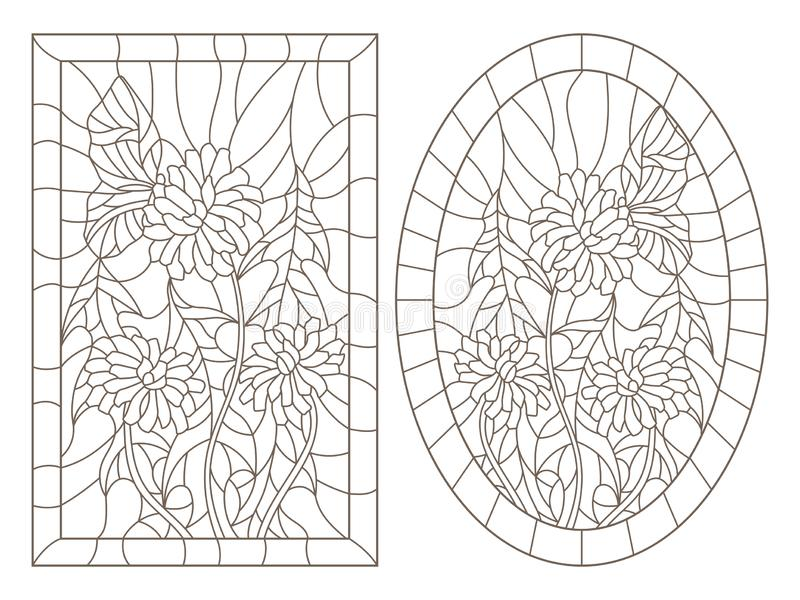 O contorno ajustou-se com ilustrações ao estilo do vitral com dentes-de-leão e uma imagem da borboleta, a oval e a retangular no  ilustração do vetor