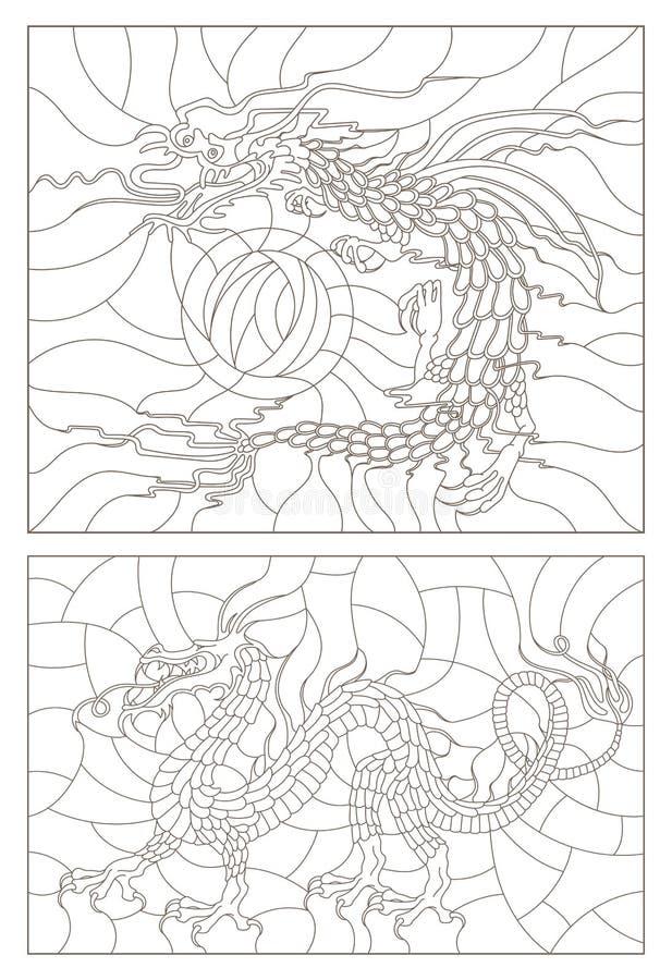 O contorno ajustou-se com ilustrações do vitral em um sumário, dragões, esboços escuros em um fundo claro ilustração royalty free