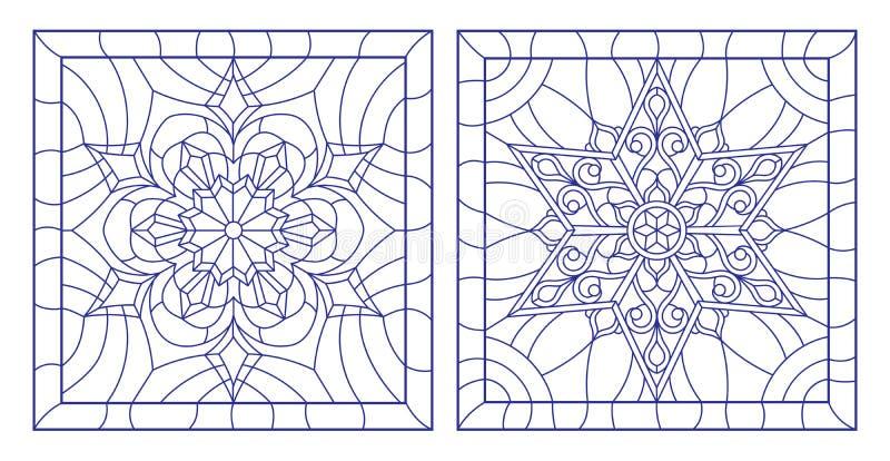 O contorno ajustou-se com ilustrações do vitral com os flocos de neve no âmbito de, a imagem quadrada, esboços azuis no backgrou  ilustração stock
