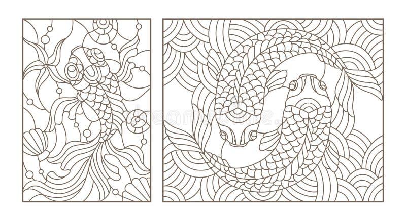 O contorno ajustou-se com ilustrações do vitral com peixes do ouro, contorno preto no fundo branco ilustração stock