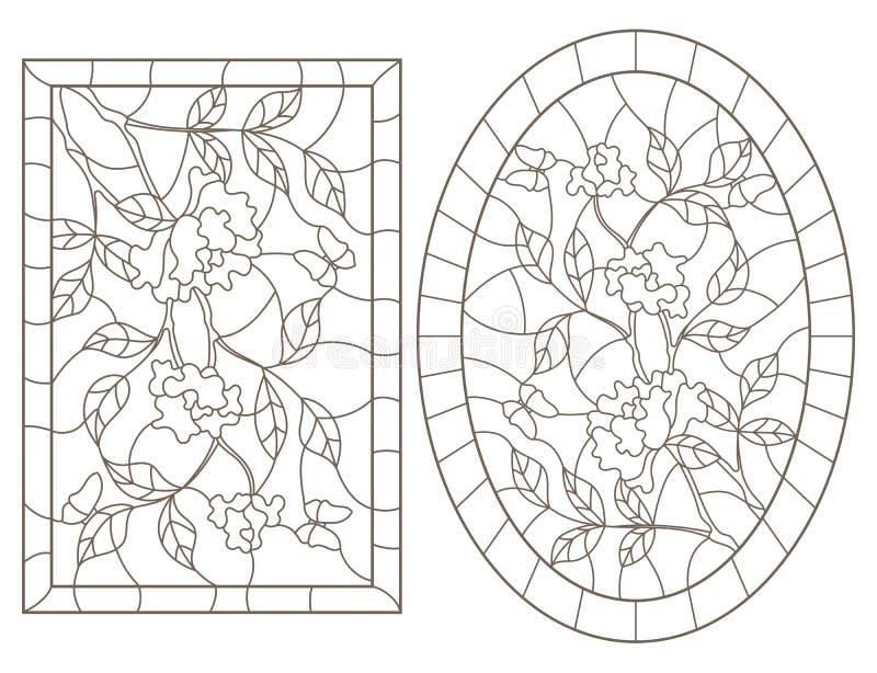 O contorno ajustou-se com ilustrações do vitral Windows com arbustos cor-de-rosa e imagem das borboletas, a oval e a retangular,  ilustração stock