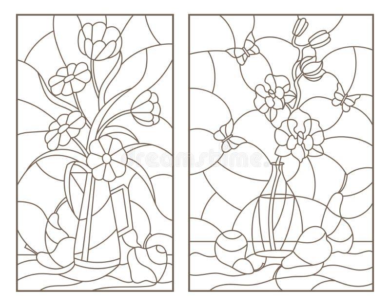 O contorno ajustou-se com ilustrações do vitral Windows com lifes imóveis, flores em uns vasos e fruto ilustração stock