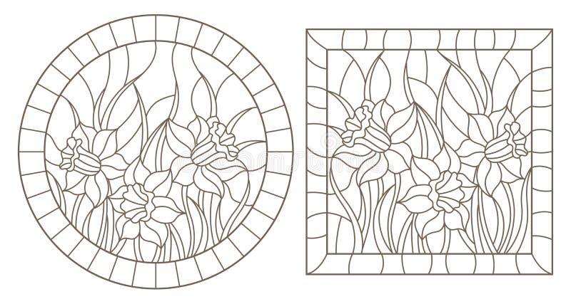O contorno ajustou-se com ilustrações do vitral Windows com os narcisos amarelos nos quadros, contornos escuros em um fundo branc ilustração stock