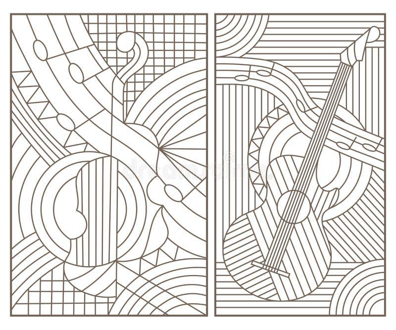 O contorno ajustou-se com ilustrações no estilo com os instrumentos musicais abstratos, contornos escuros do vitral no fundo bran ilustração stock