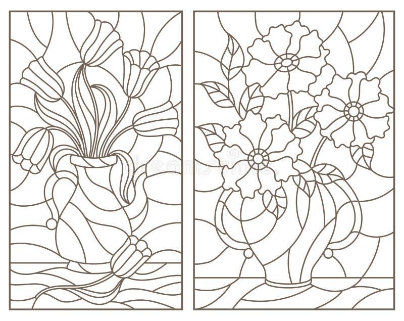 O contorno ajustou-se com ilustrações, ramalhetes das flores nos vasos, contornos escuros em um fundo branco ilustração stock