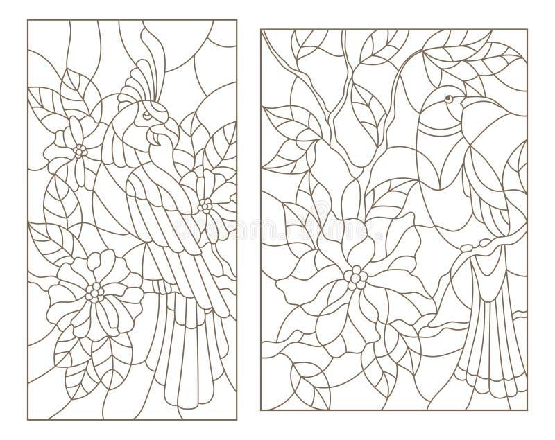 O contorno ajustou-se com vitral com os pássaros nos ramos de plantas de florescência ilustração do vetor
