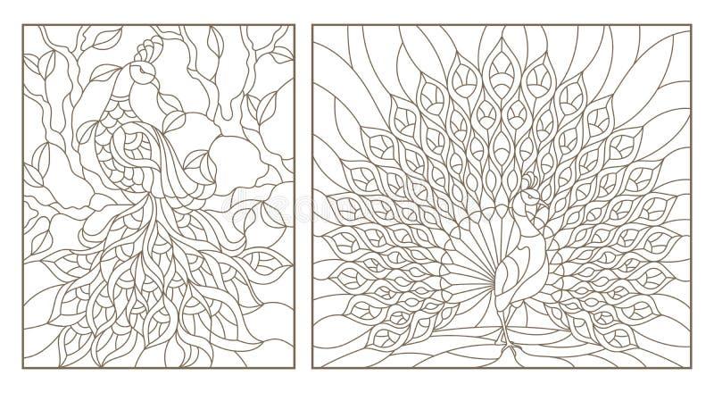 O contorno ajustou-se com vitral Windows das ilustrações com pavões, esboços escuros no fundo branco ilustração stock