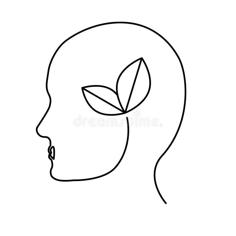 O contorno deixa o ícone da tutela do cérebro ilustração do vetor