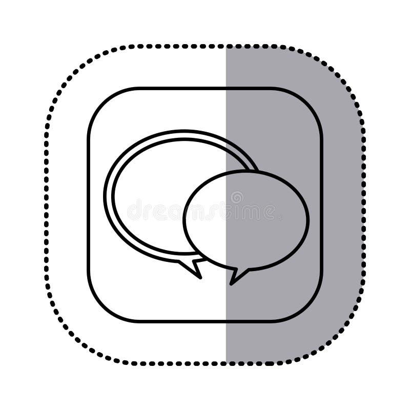 o contorno monocromático com etiqueta quadrada do discurso borbulha ícone ilustração royalty free