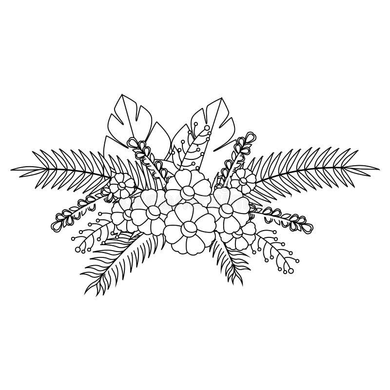 O contorno monocromático com flores ajunta o design floral com folhas ilustração royalty free