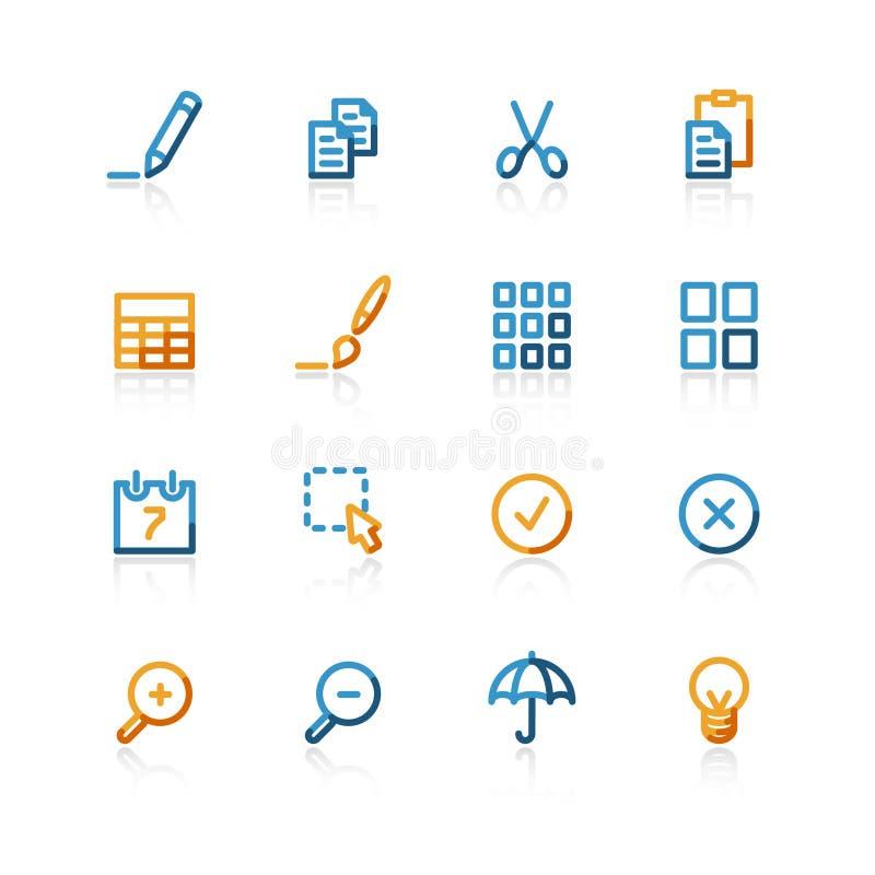 O contorno publica ícones ilustração stock