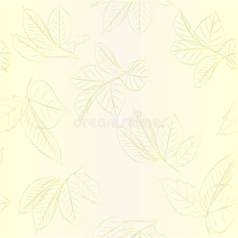 O contorno sem emenda da textura ramifica com as folhas da ilustração editável do vetor do vintage das rosas ilustração do vetor