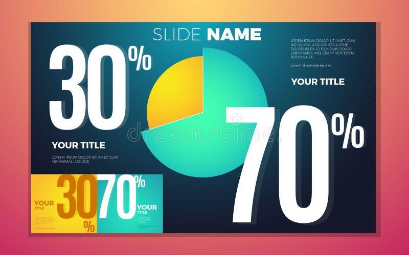 O contraste brilhante colore infographic com carta, caixas e números de torta ilustração stock